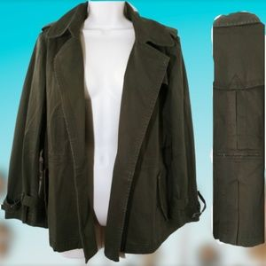 Coldwater Creek Classic Petite 14 Army Jacket Oliv